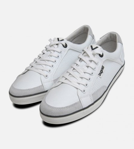 Mens White Leather Designer Trainers by Bugatti Sneakers