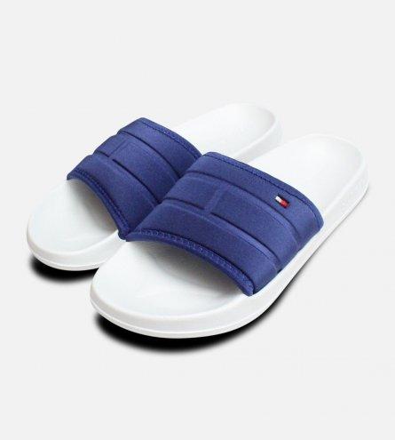 White Monaco Blue Tommy Hilfiger Flag Pool Slides