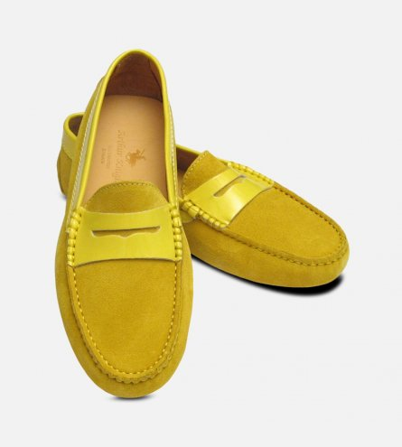 Mustard Yellow Suede & Patent Leather Designer Womens Italian Driving Shoes