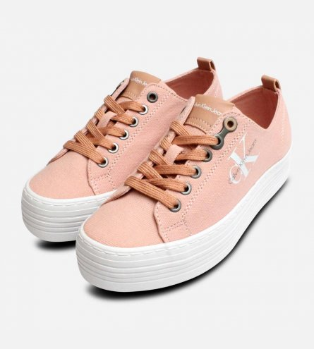 Zolah Calvin Klein Chunky Canvas Trainers in Dusk Pink