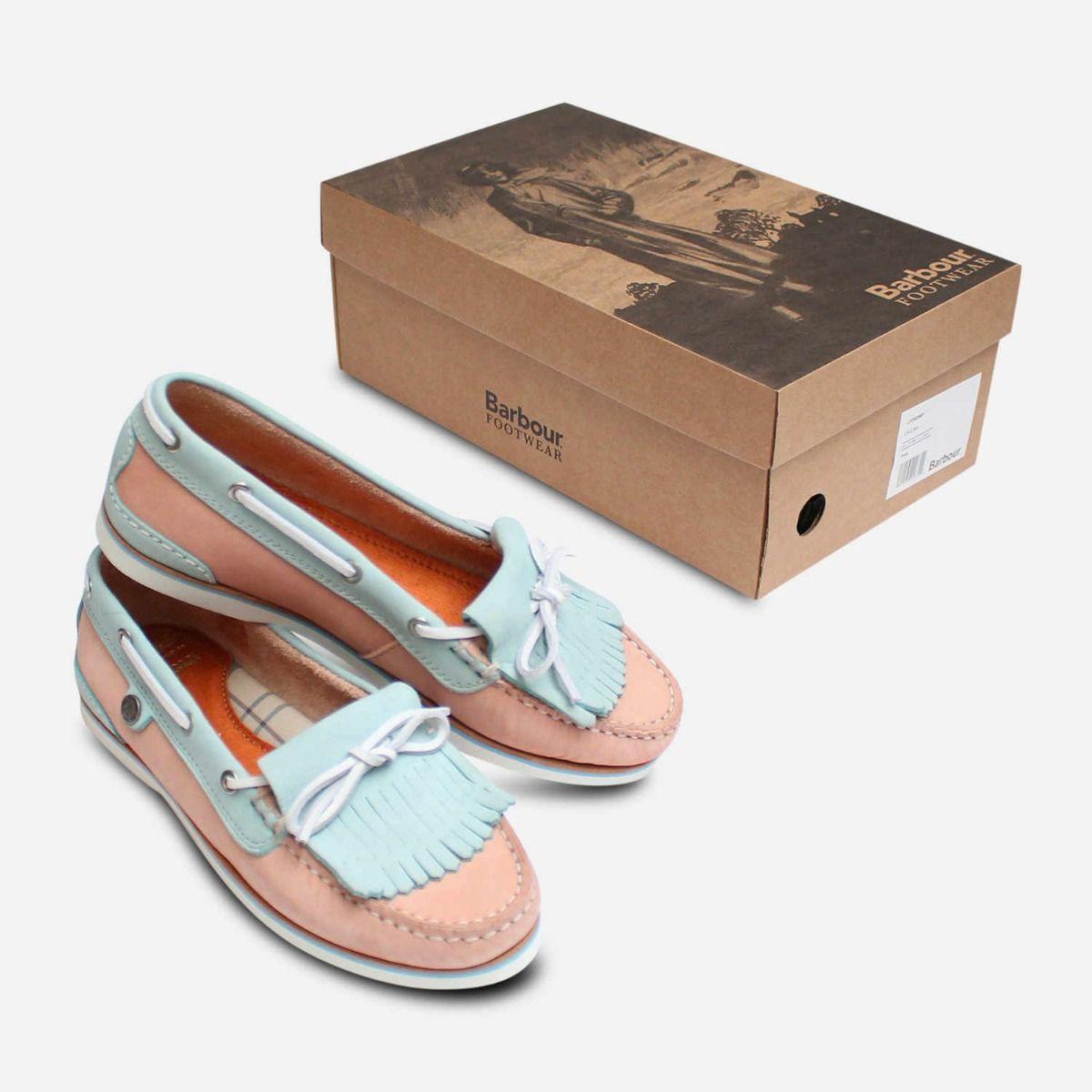 Womens Pink \u0026 Light Blue Fringe Boat Shoes