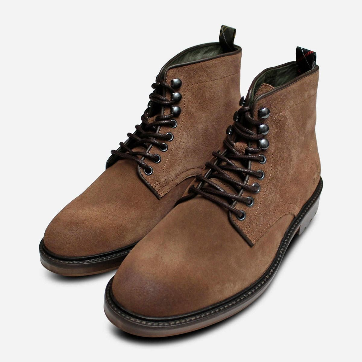 Barbour Tobacco Suede Mens Seaburn Lace Derby Boots