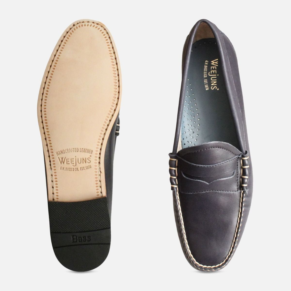 Navy Blue Bass Weejun Mens Loafers