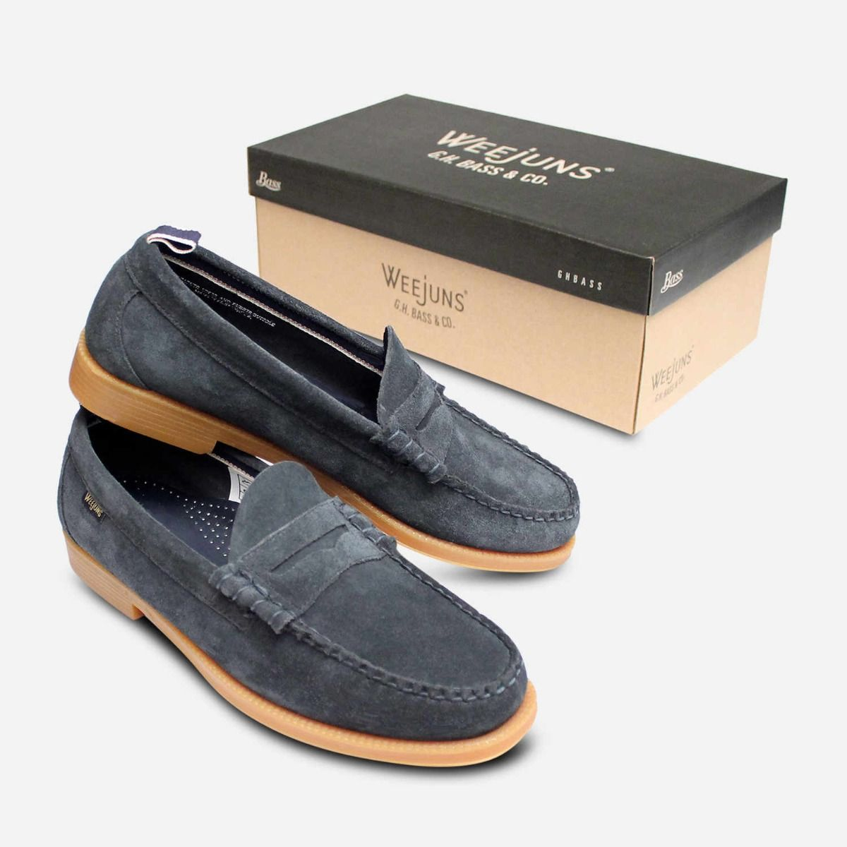 Bass Weejuns Jeans Blue Suede Leather