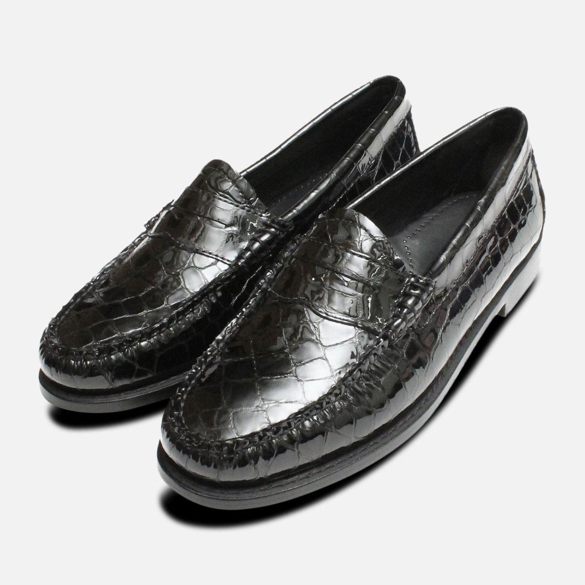 black crocodile loafers