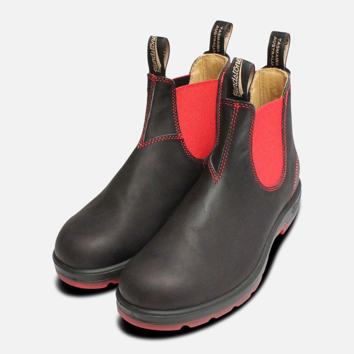 Black \u0026 Red Mens Blundstone Chelsea Boots