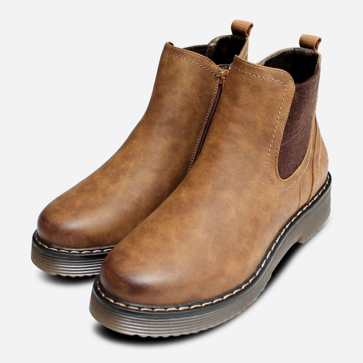 Slip On Chelsea Boots in Rustic Brown