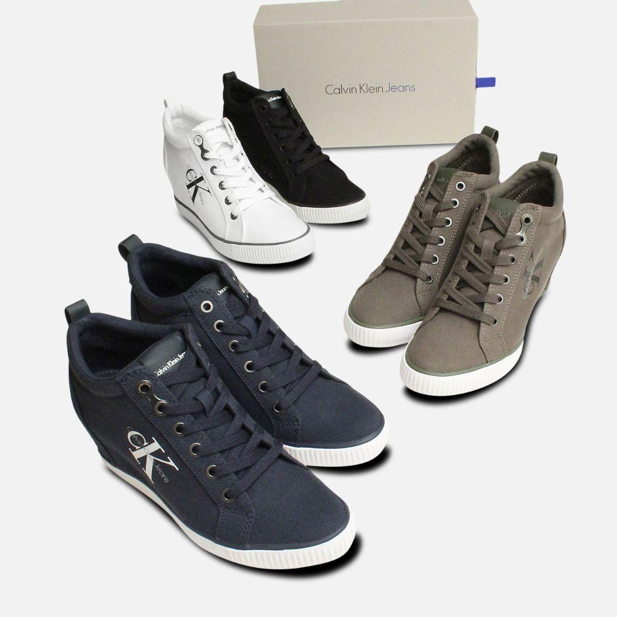 Black Canvas Ritzy Heel Sneakers by