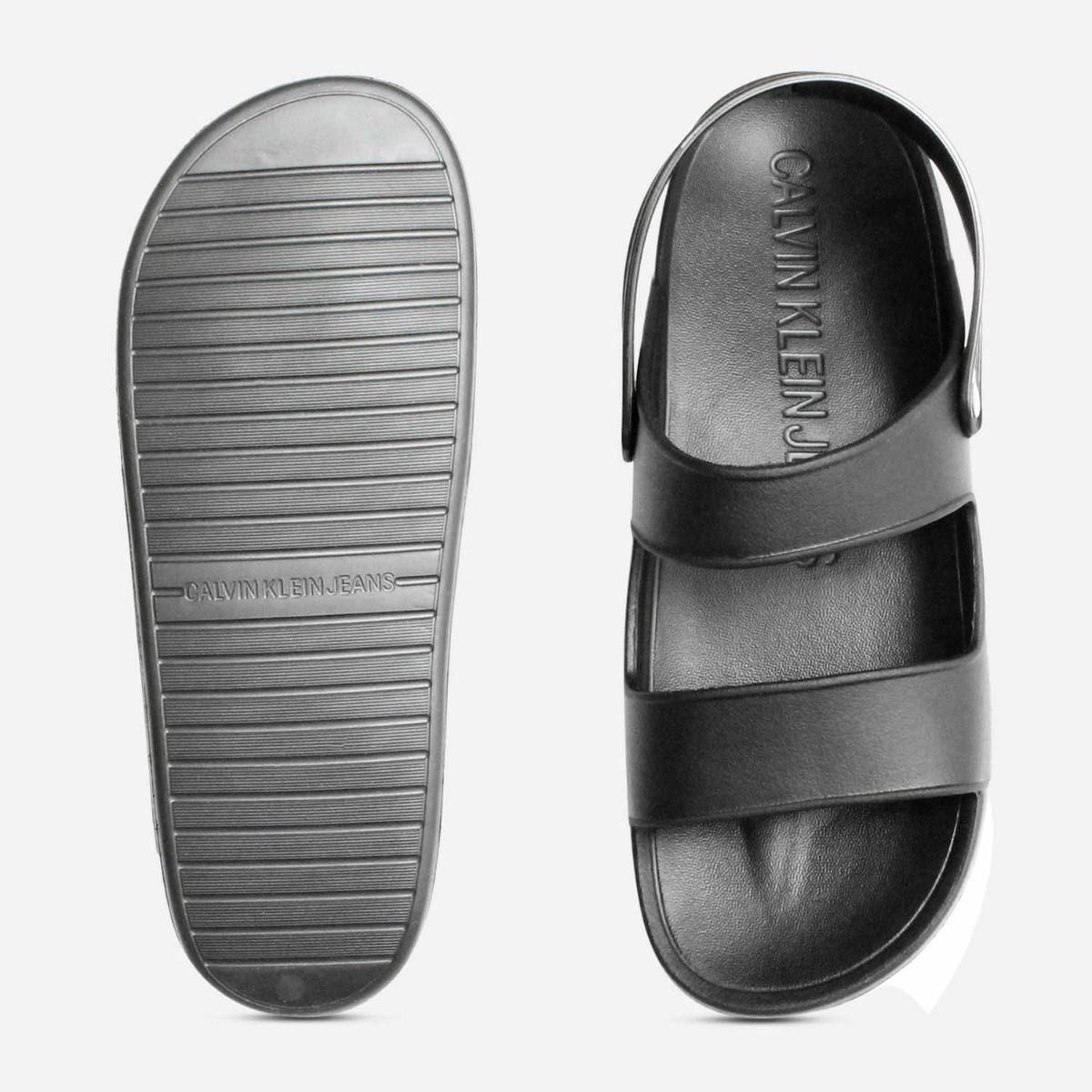 Calvin Klein Mens Designer Black Rubber