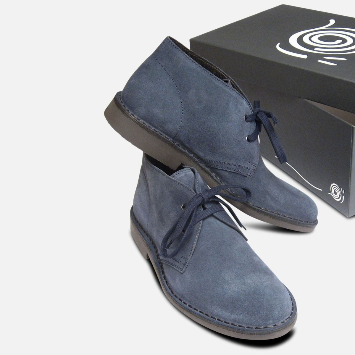 Blue Suede Mens Jeans Desert Boots