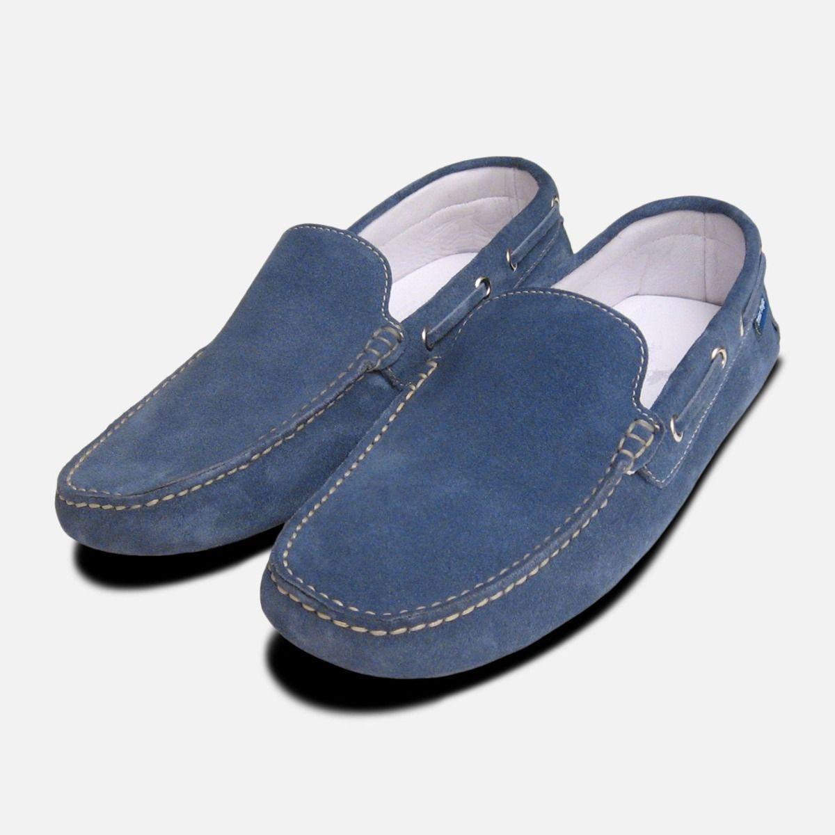 Blue Denim Jeans Suede Shoes by Arthur