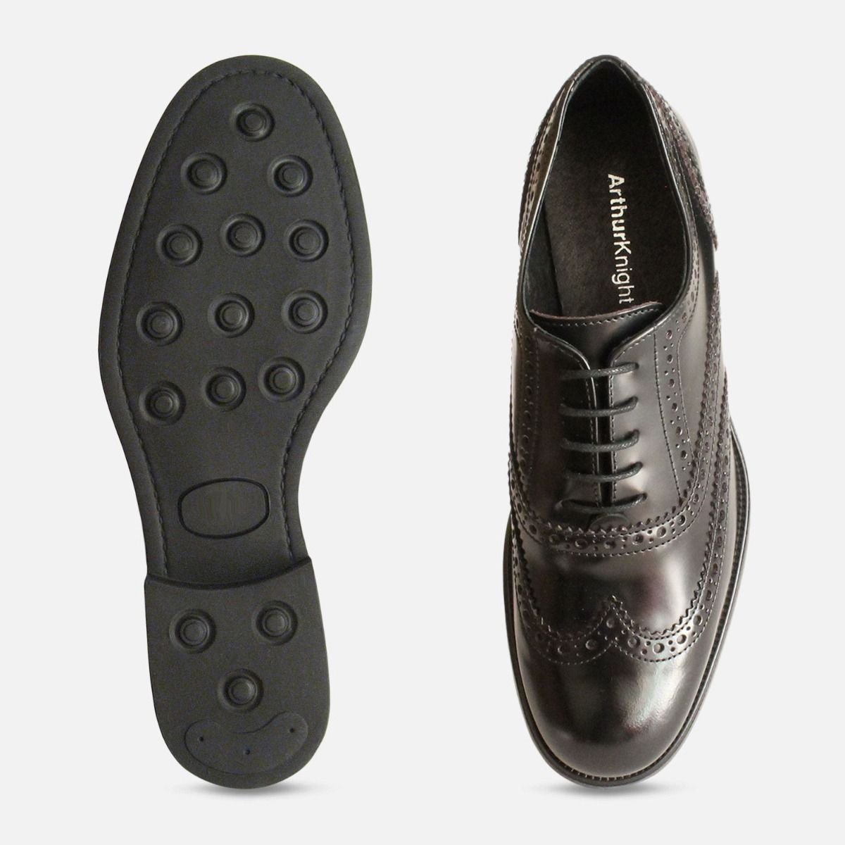 Black Oxford Rubber Sole Brogues Made