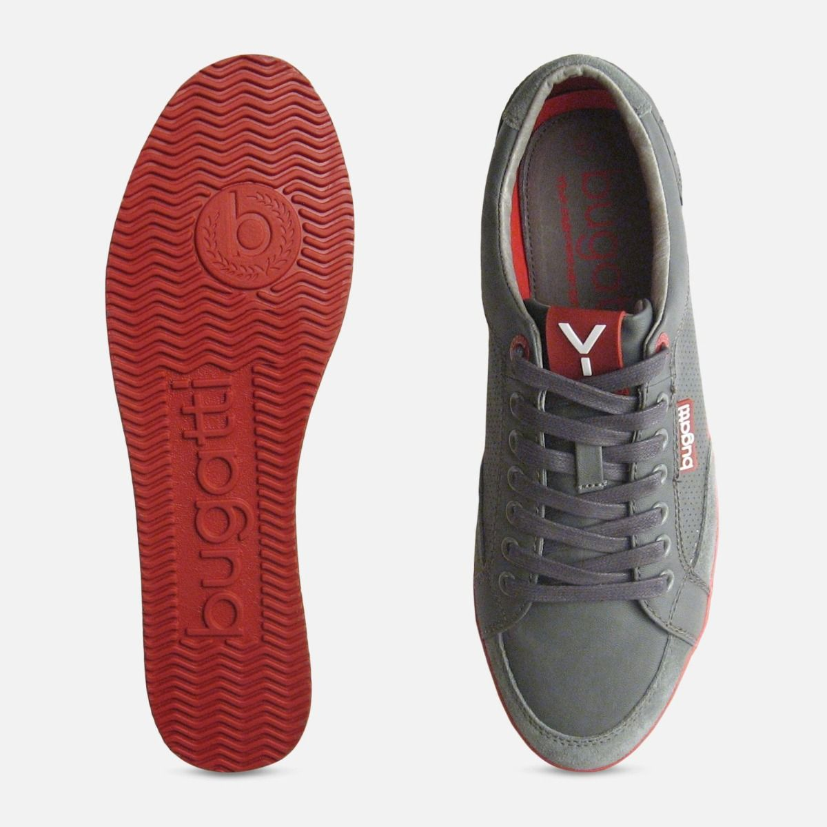 Red Leather Mens Designer Trainers