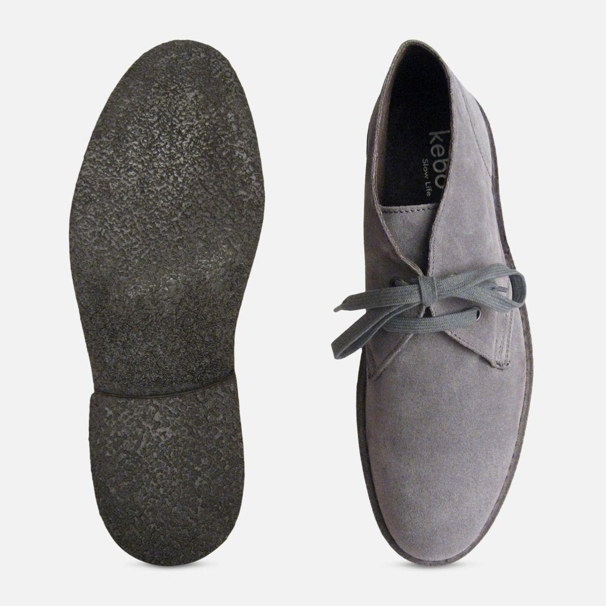 Ash Grey Suede Mens Designer Italian