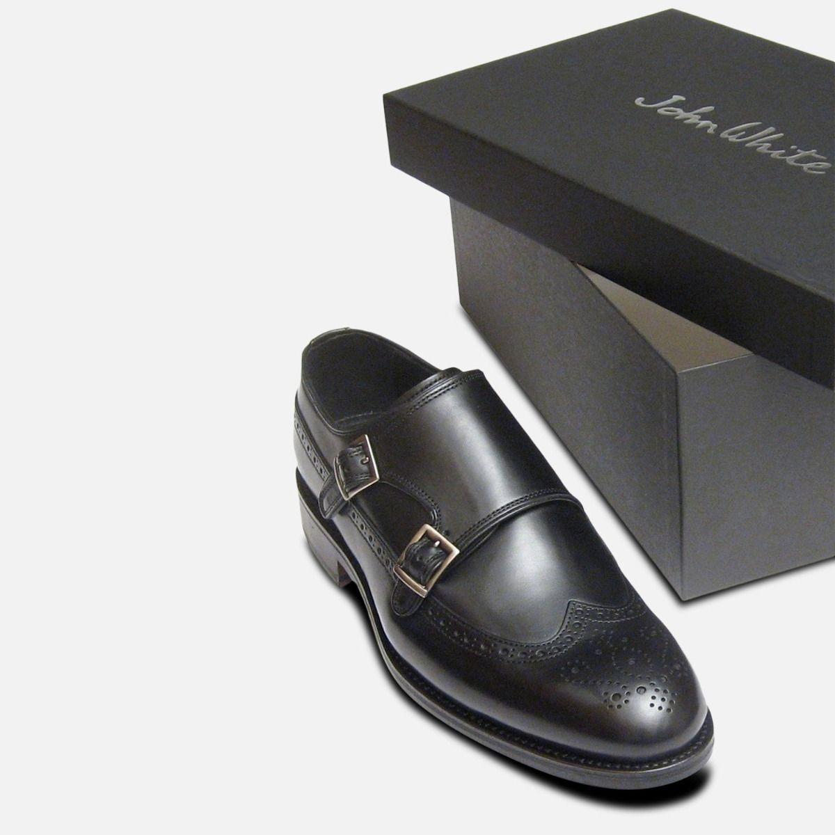 Black Calf Double Buckle Shoes Designer