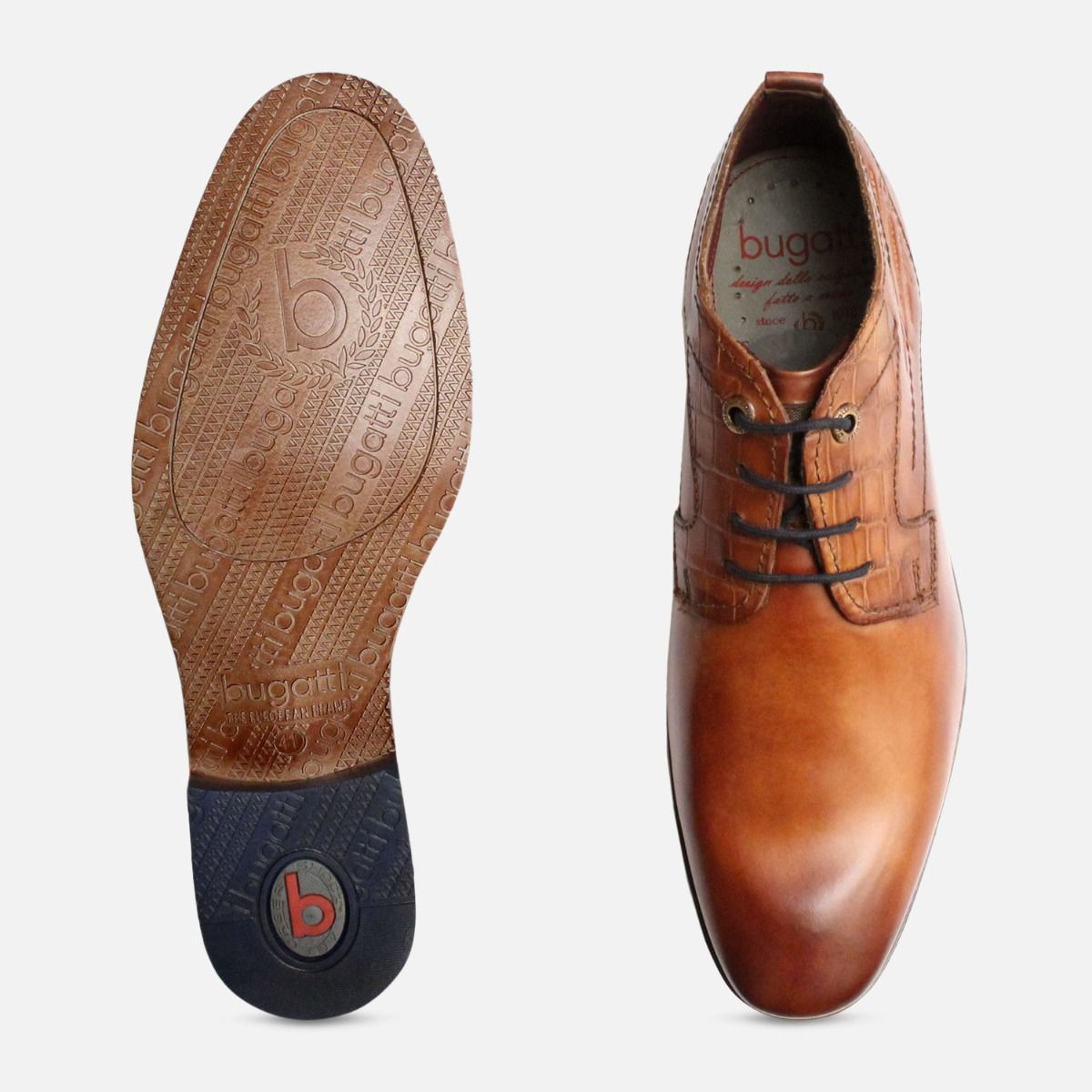 Cognac Tan Low Cut Lace Up Boots by Bugatti