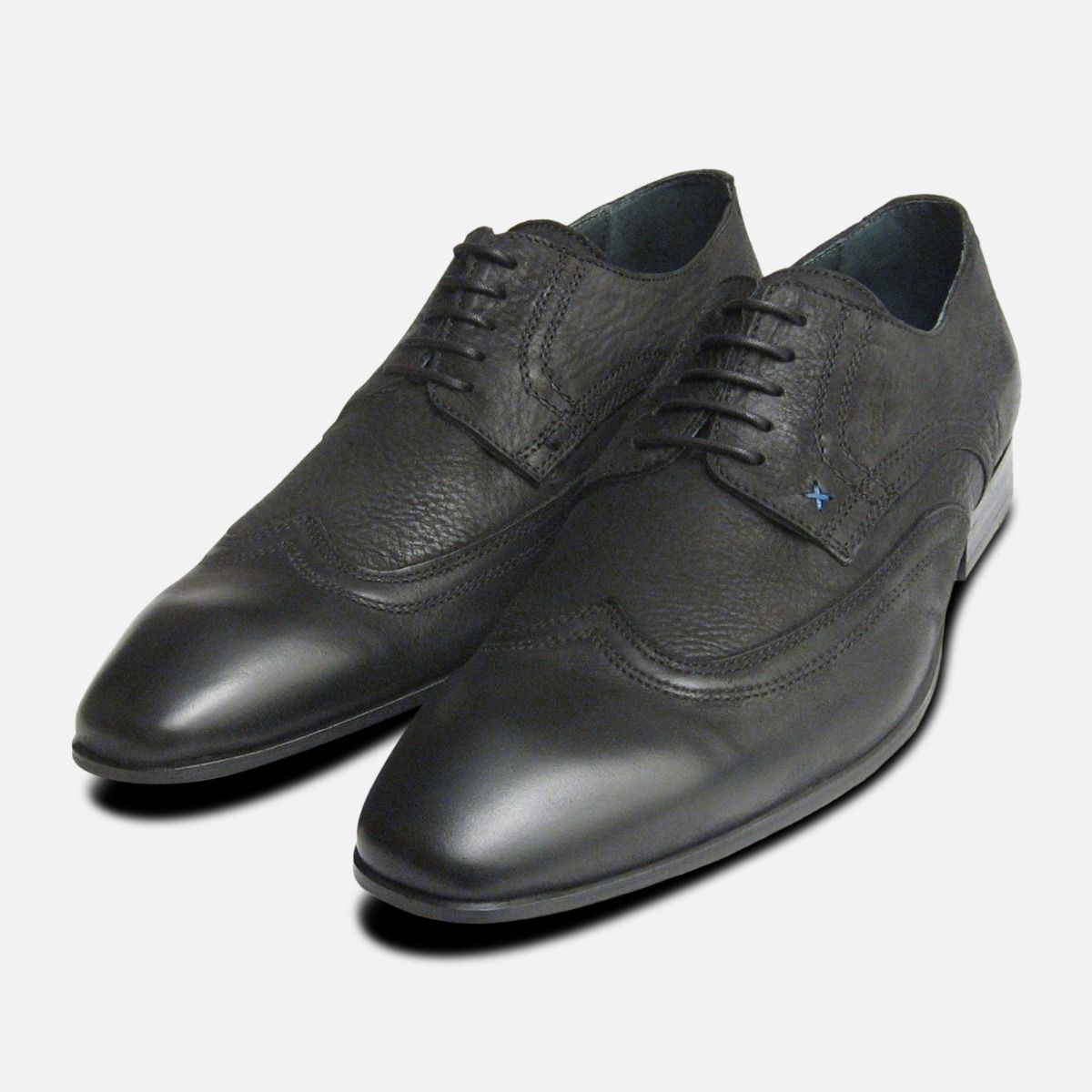 Black Waxy Lace Up Shoes for Men by