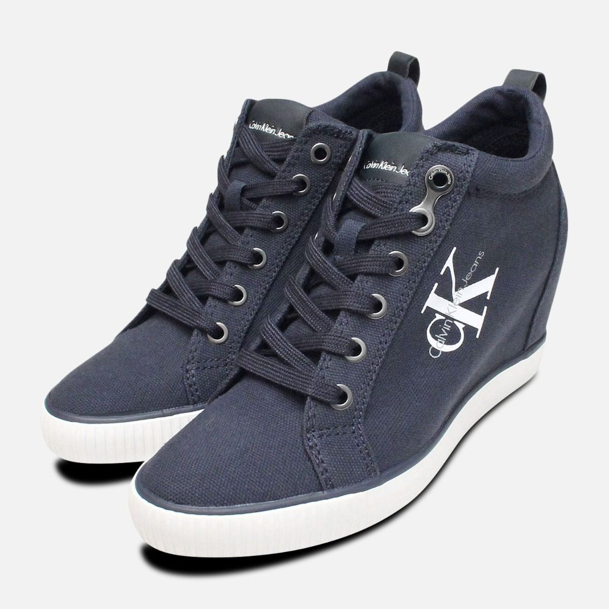 Navy Blue Canvas Ritzy Heel Trainer by