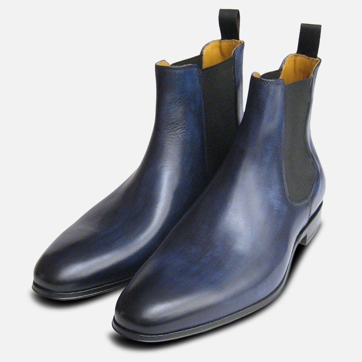 Antiqued Navy Blue Mens Chelsea Boots