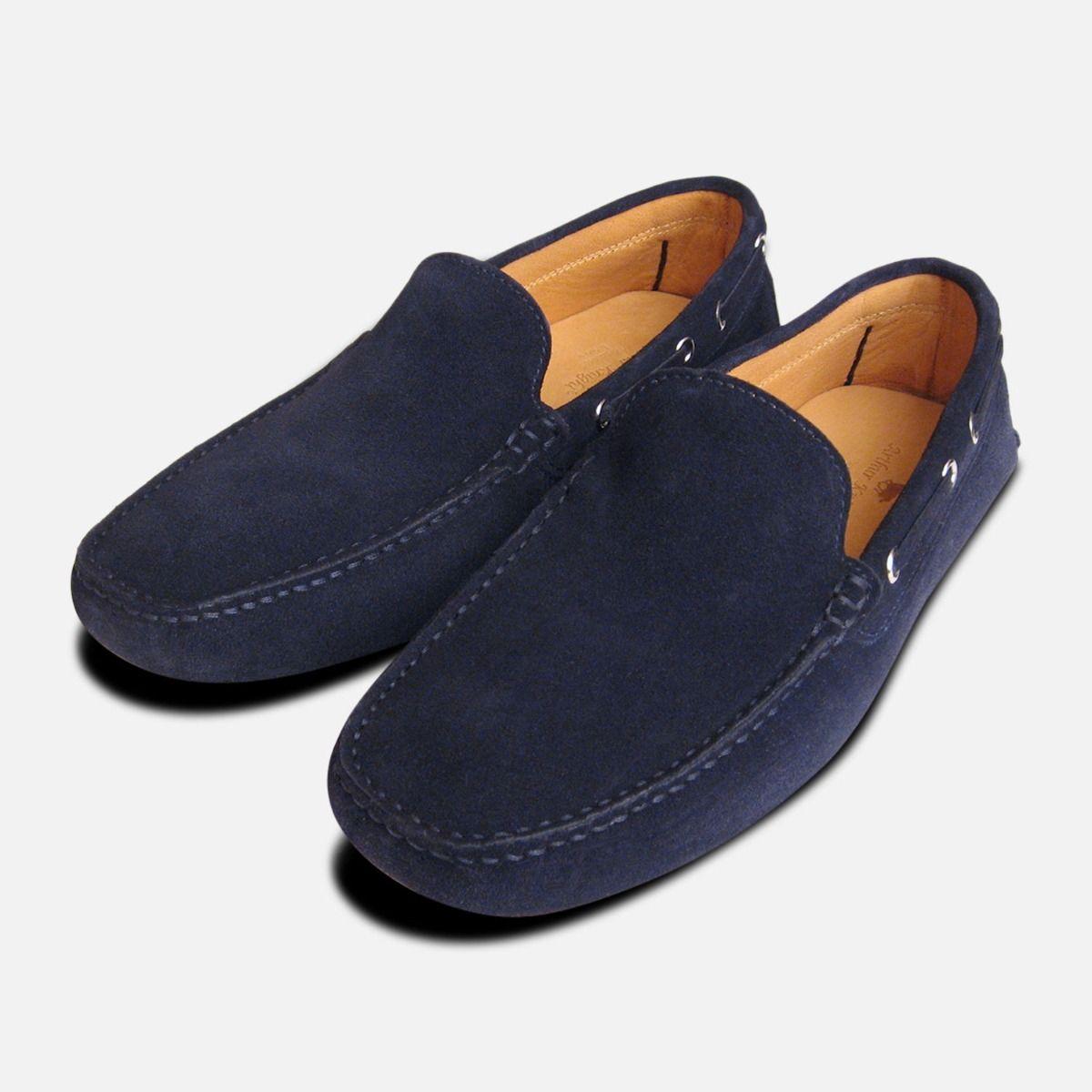 Navy Blue Suede Italian Driving Shoe