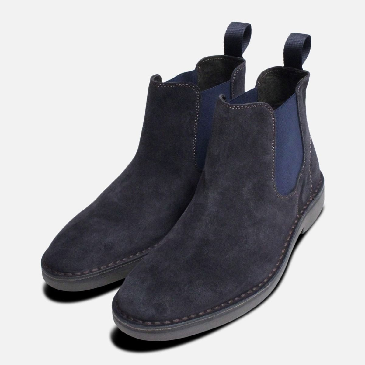 Navy Blue Suede Plain Chelsea Boots for Men