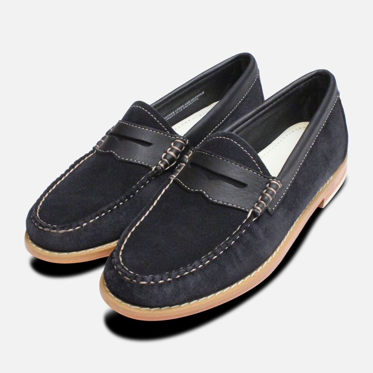 Navy Blue Suede Womens Bass Penny Loafers