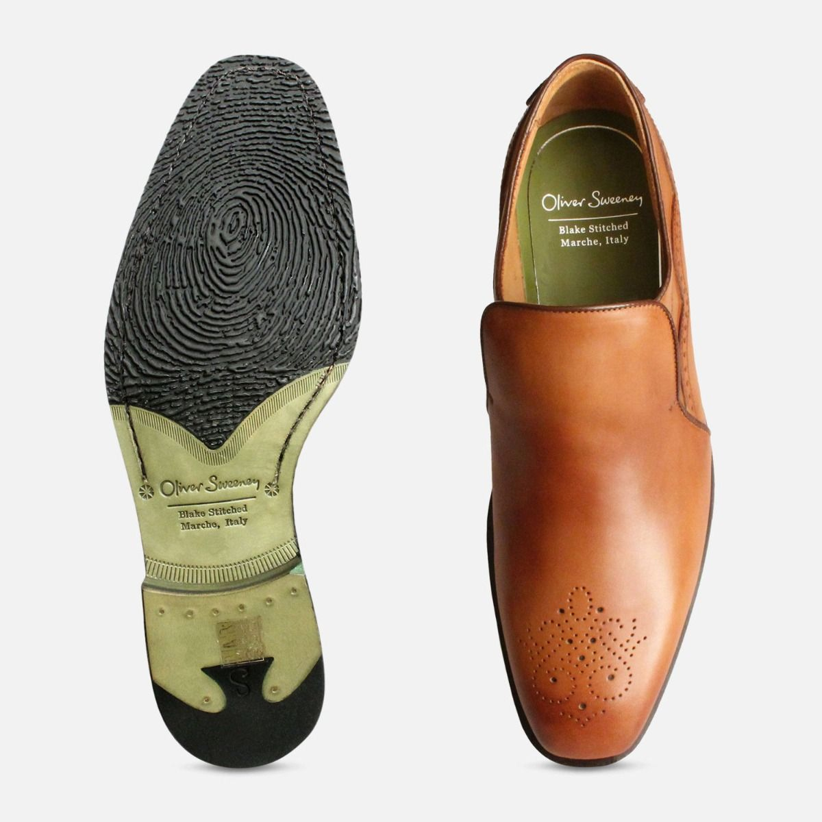 Tan Leather Italian Loafers for Men by