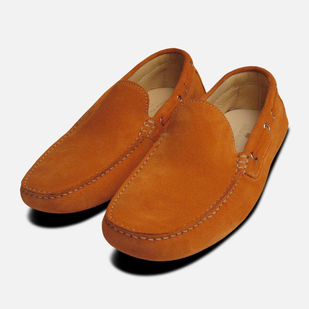 Orange Suede Mens Driving Shoes
