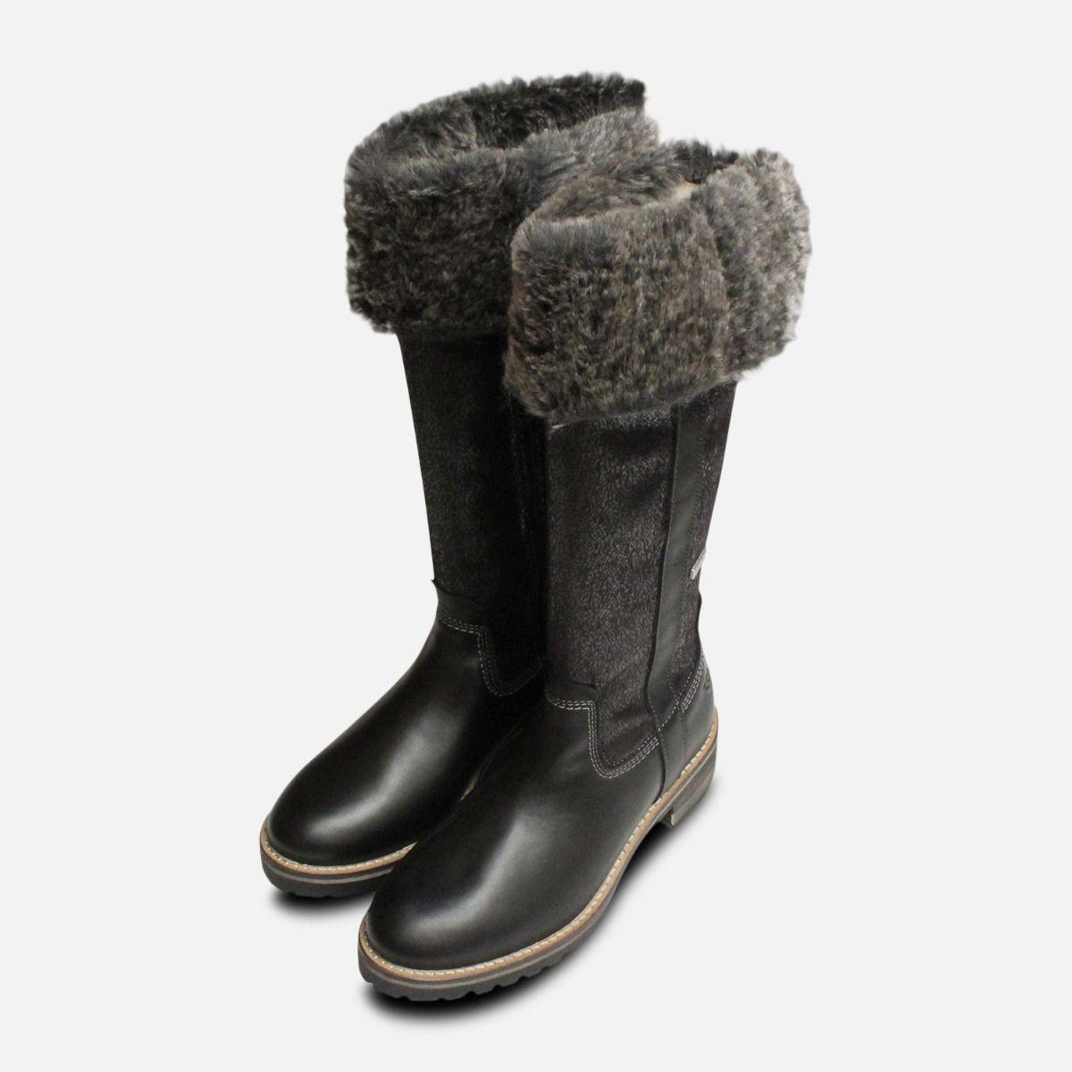 Black Warm Fur Lined Tamaris Long Boots