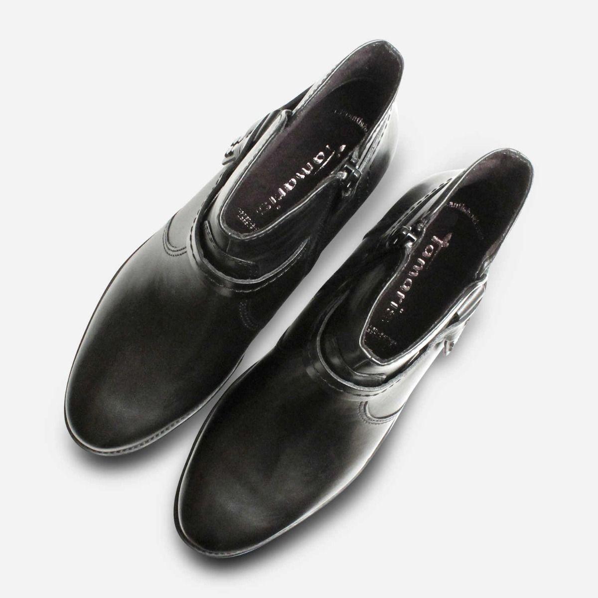Black Leather Tamaris Ladies Ankle