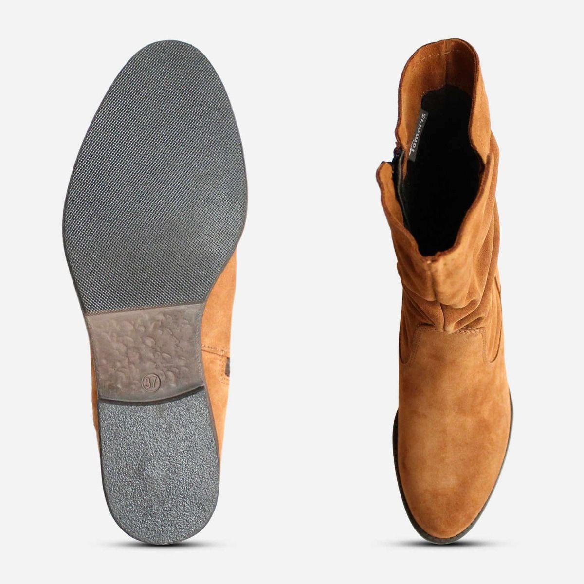 Tamaris Ruched Boots in Cognac Suede
