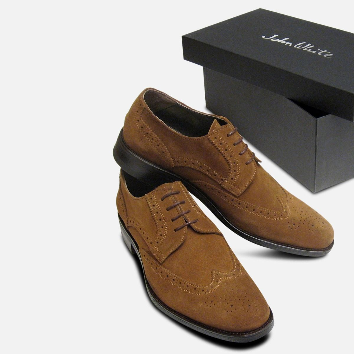 Tobacco Snuff Suede Brogues for Men by
