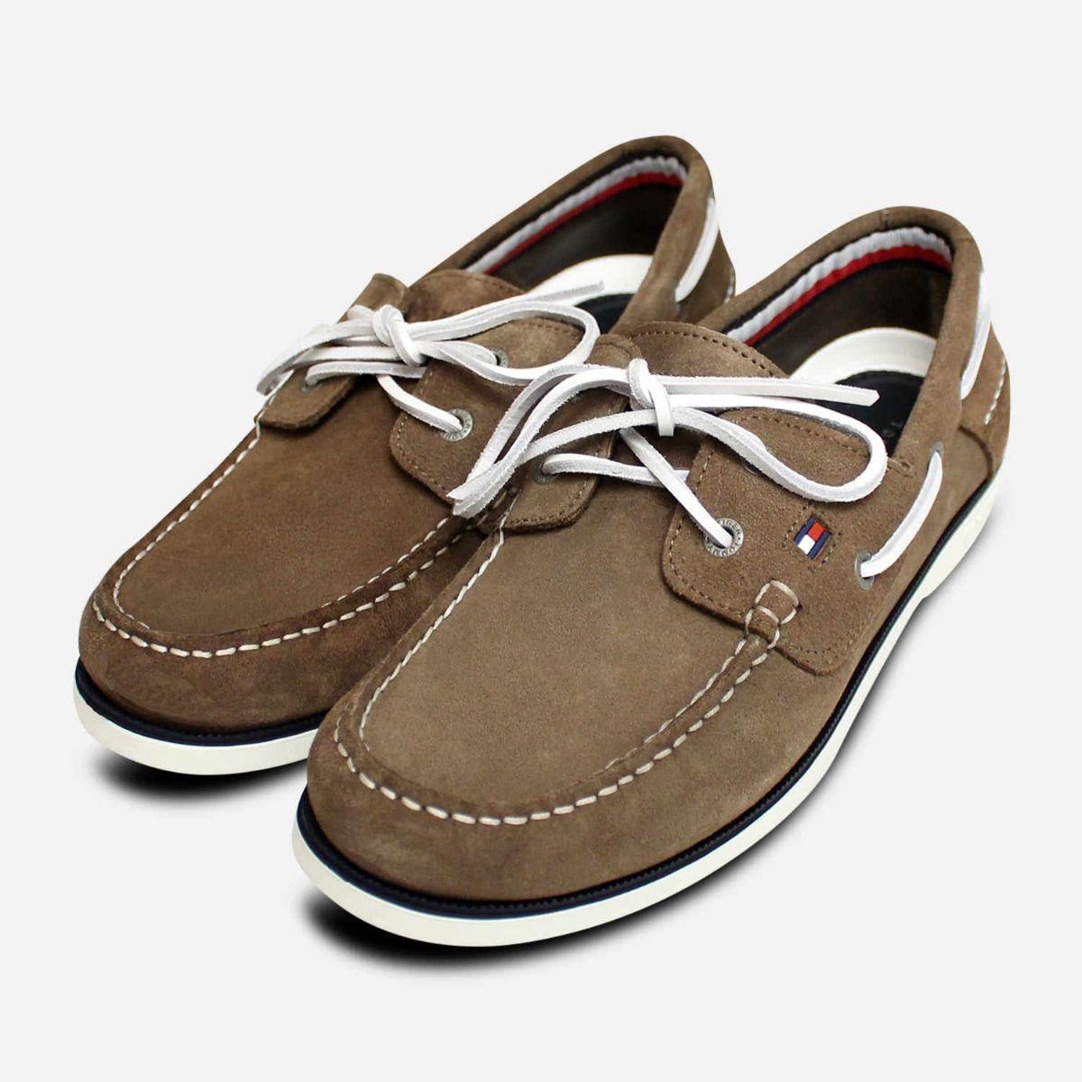 Tommy Hilfiger Mens Boat Shoes in Olive