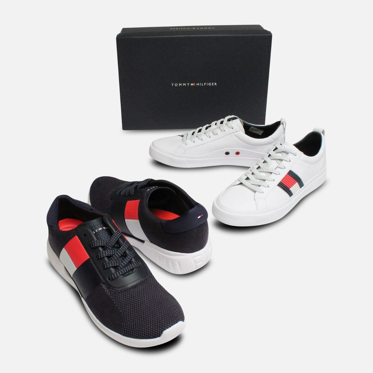 Tommy Hilfiger Flag Detail Leather White Sneakers
