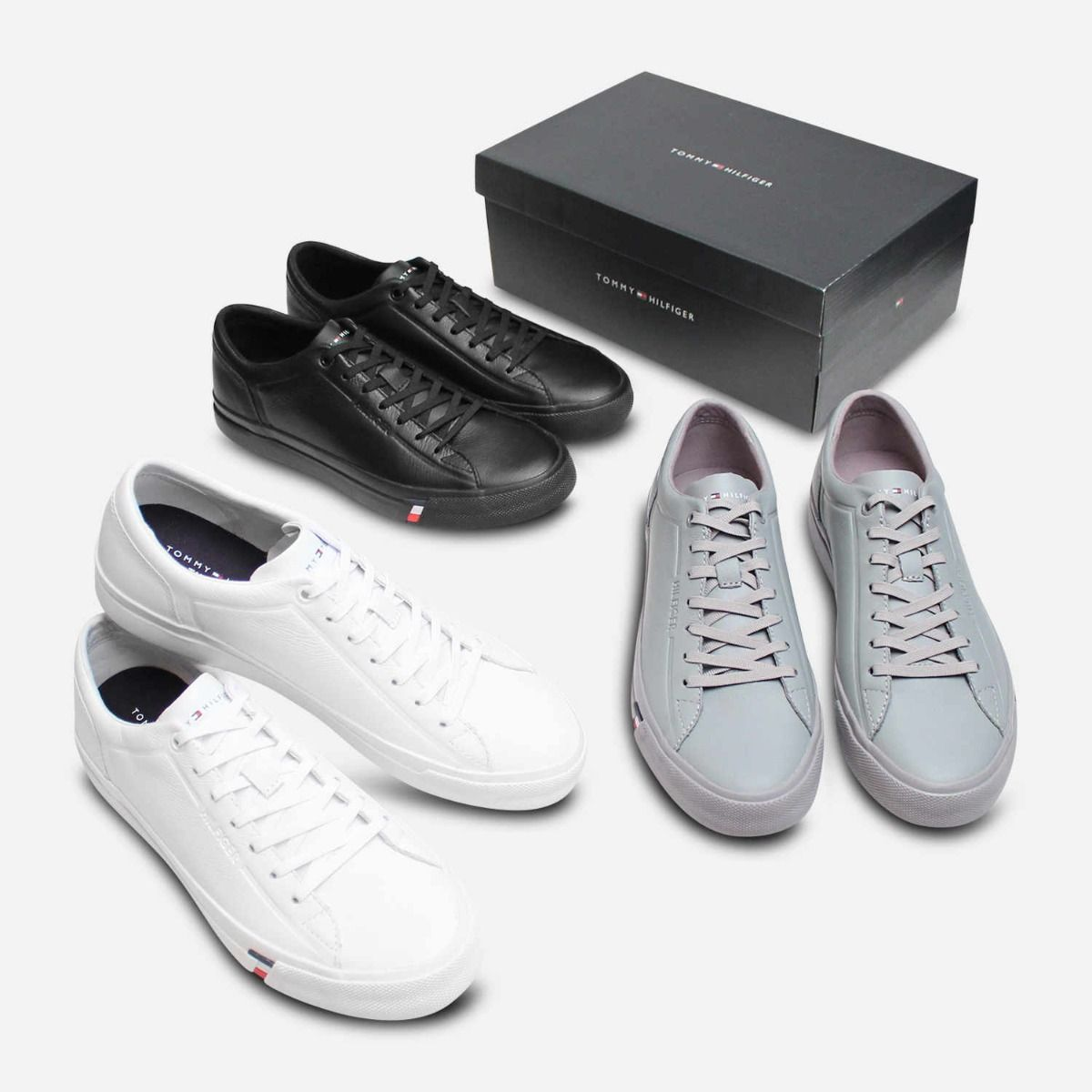 Premium White Leather Sneakers by Tommy