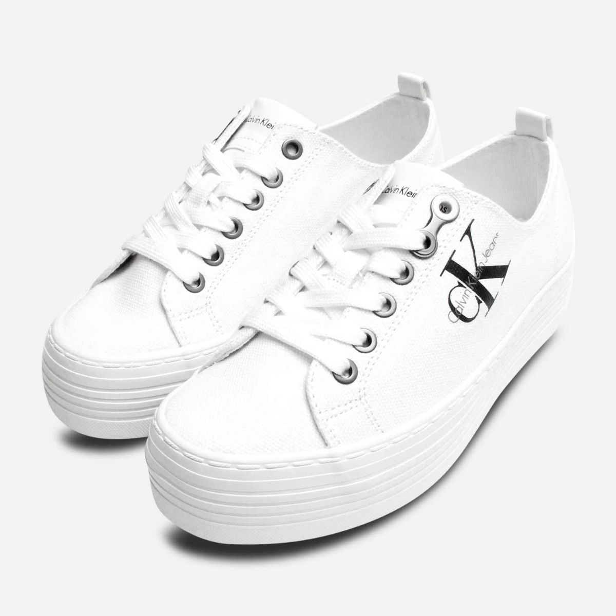 calvin klein zolah white canvas flatform trainers
