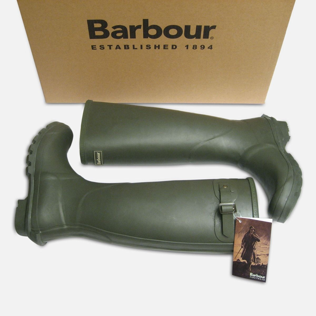 Barbour Mens Olive Green Waterproof Rubber Wellington Boots
