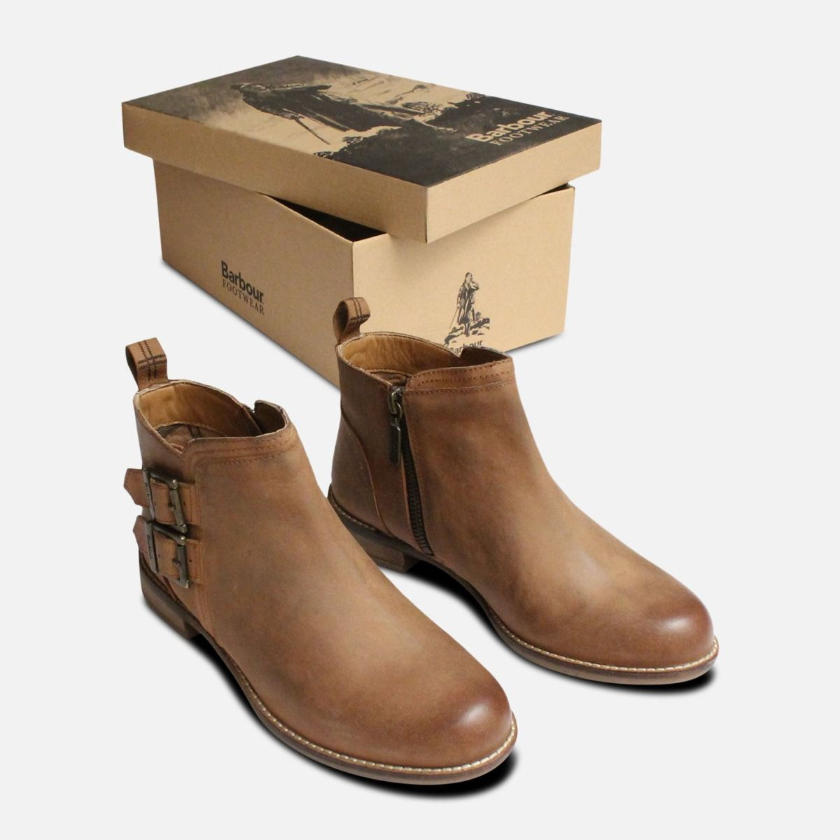 Barbour Sarah Low Twin Buckle Boots in Brown