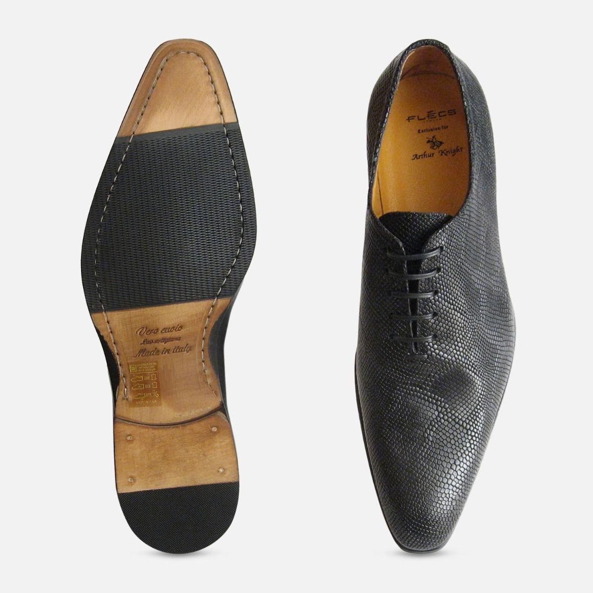 Designer Black Lizard Skin Whole Cut Iguana Mens Italian Shoes