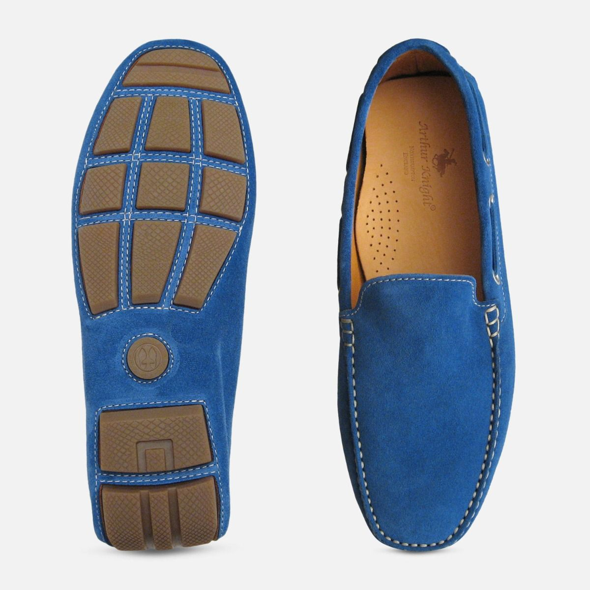 Blue Suede Driving Shoes for Men