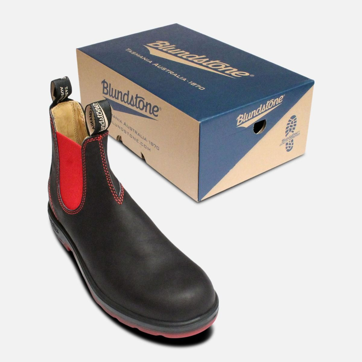 Black & Red Mens Blundstone Chelsea Boots