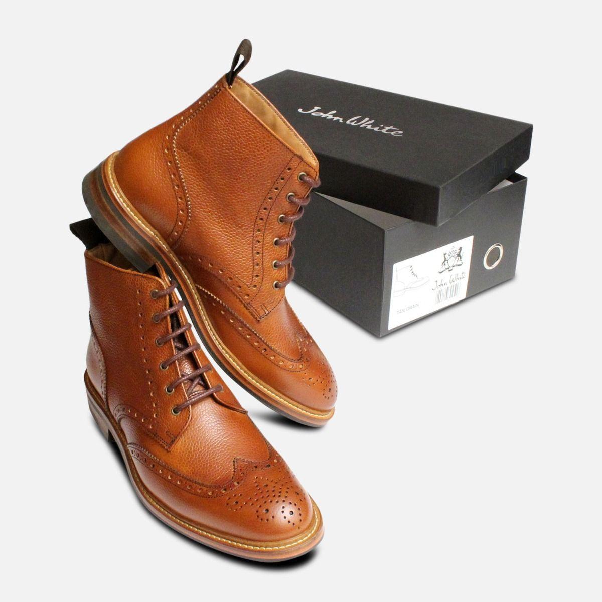 John White Country Brogue Boots in Tan Grain