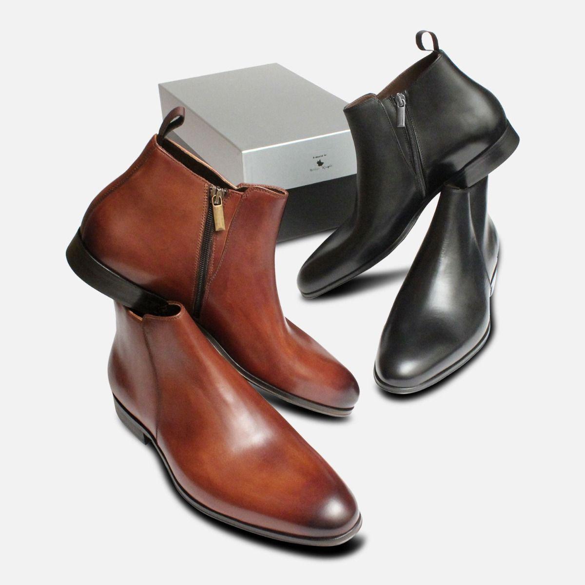 Mahogany Brown Zip Boots by Arthur Knight Italy