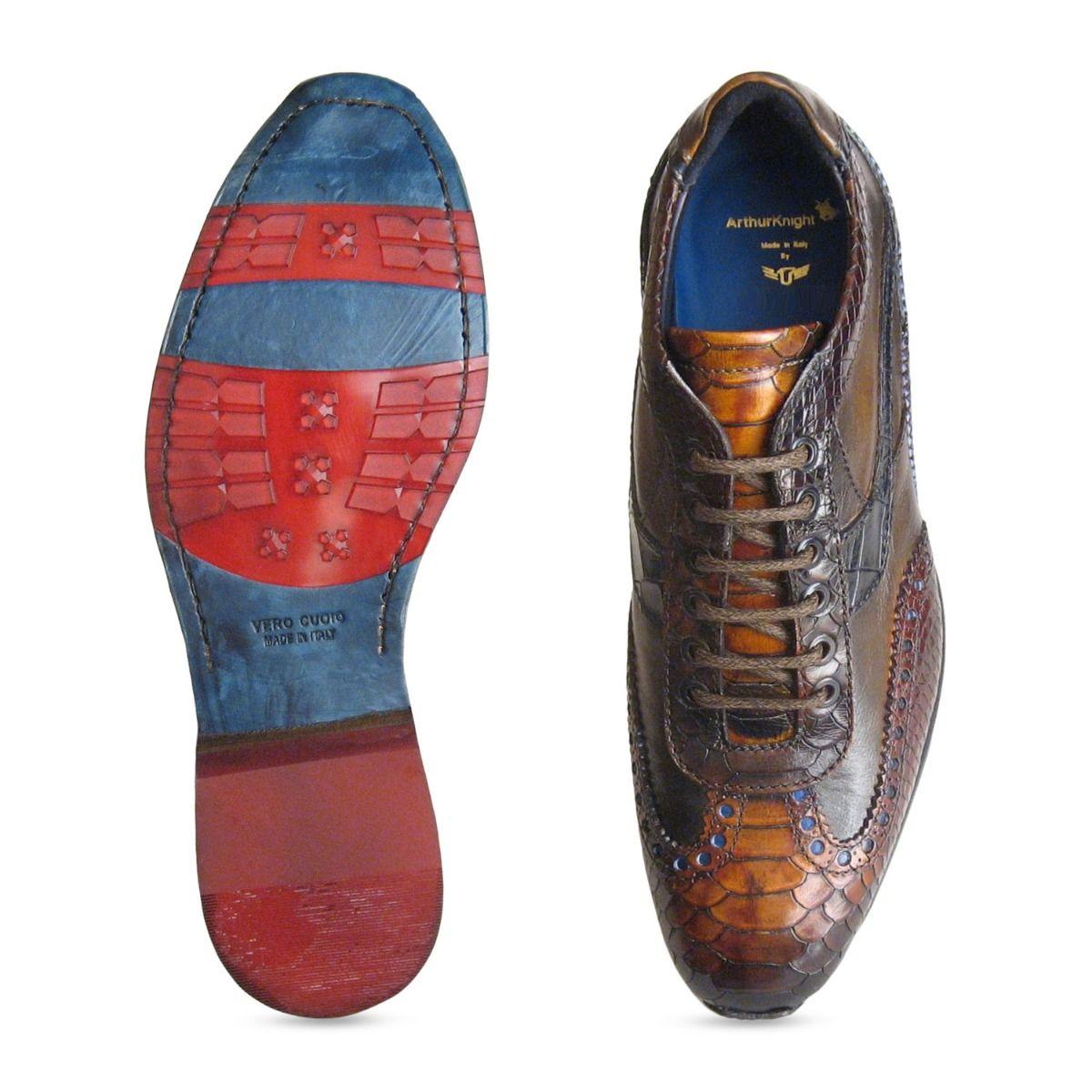 Designer Mens Brown Snake Skin Shoes