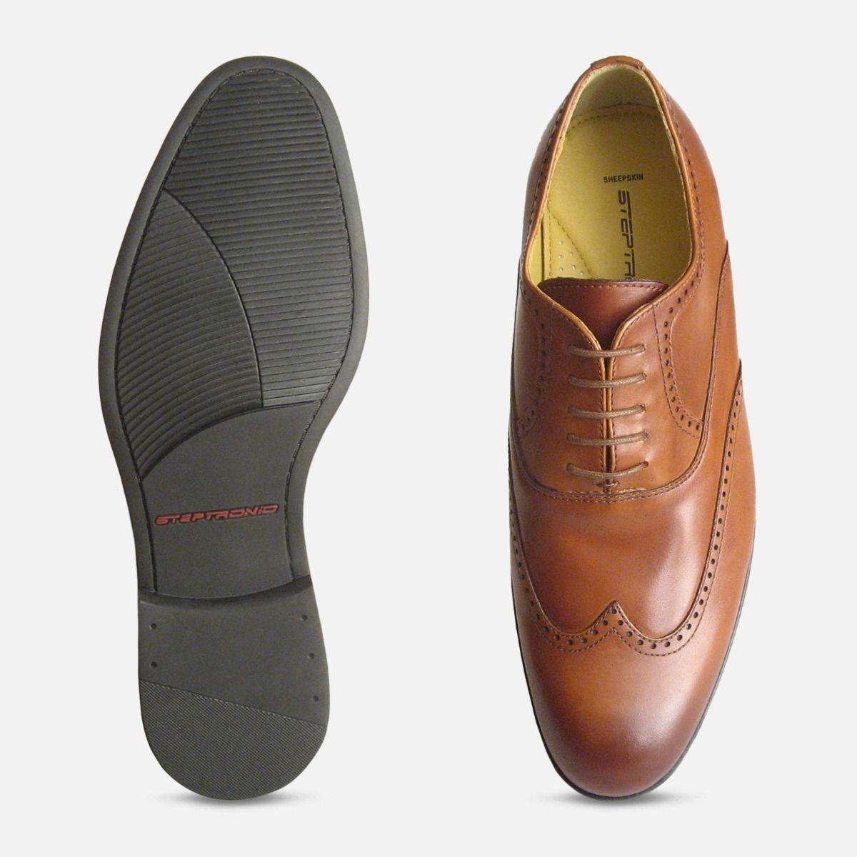 Steptronic Bugatti Formal Cognac Tan Wingcap Mens Lace Up Shoes