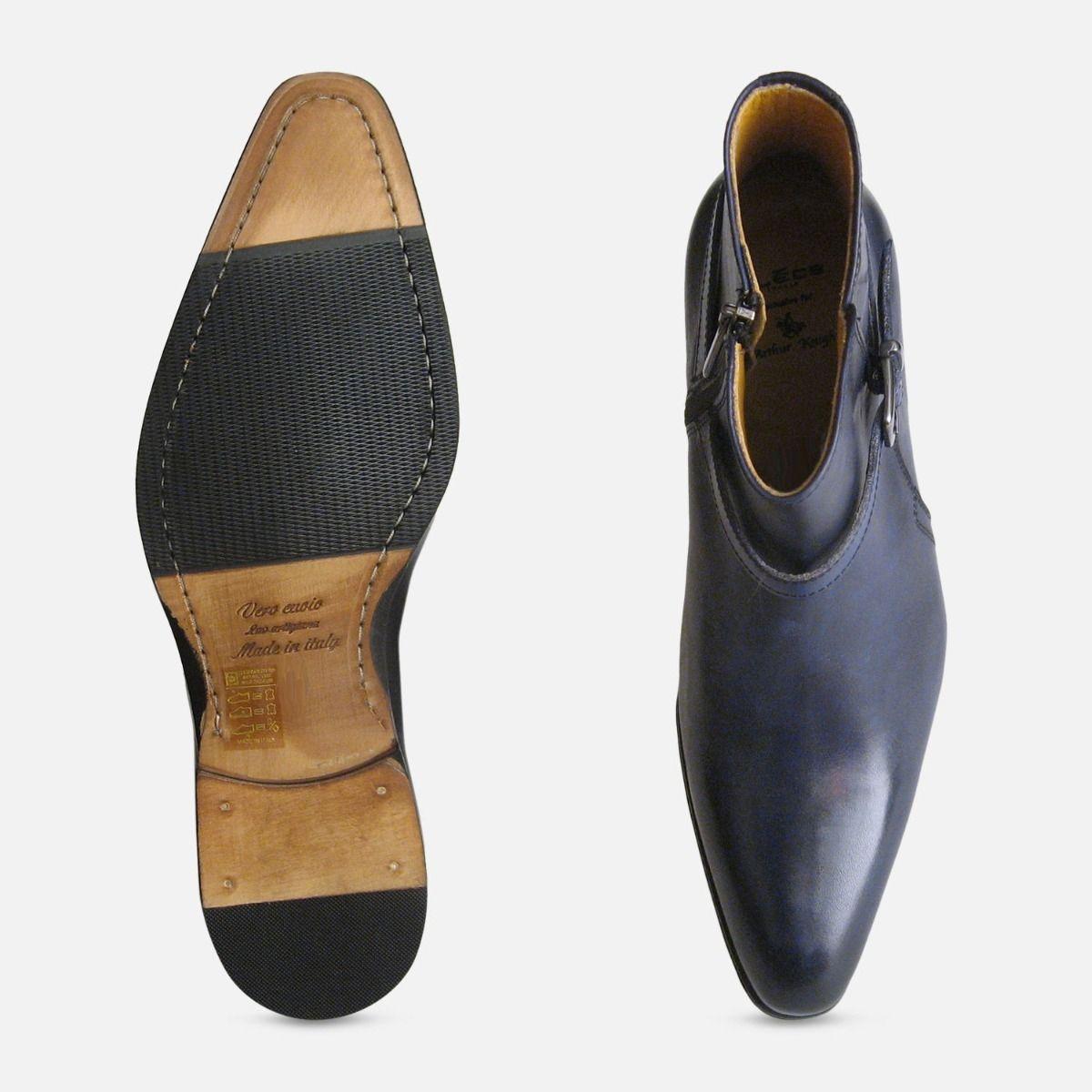 Navy Blue Mens Jodhpur Zip Boots