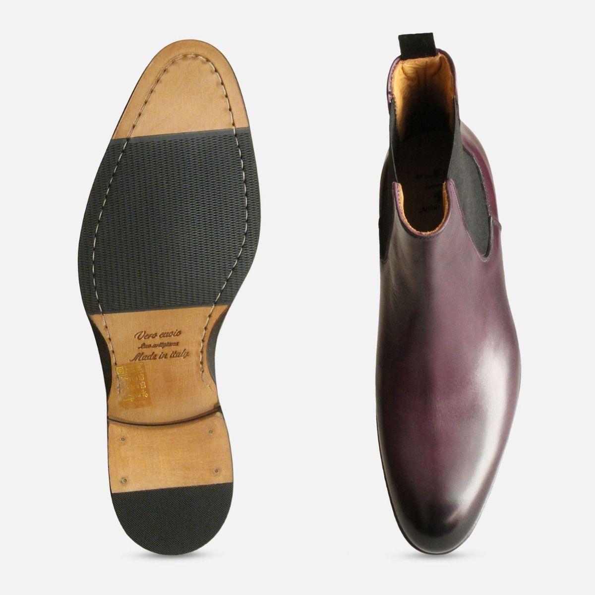 Purple Aubergine Chelsea Boots for Men
