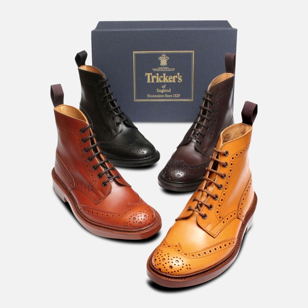 Trickers Stow Black Dainite Brogue Boots