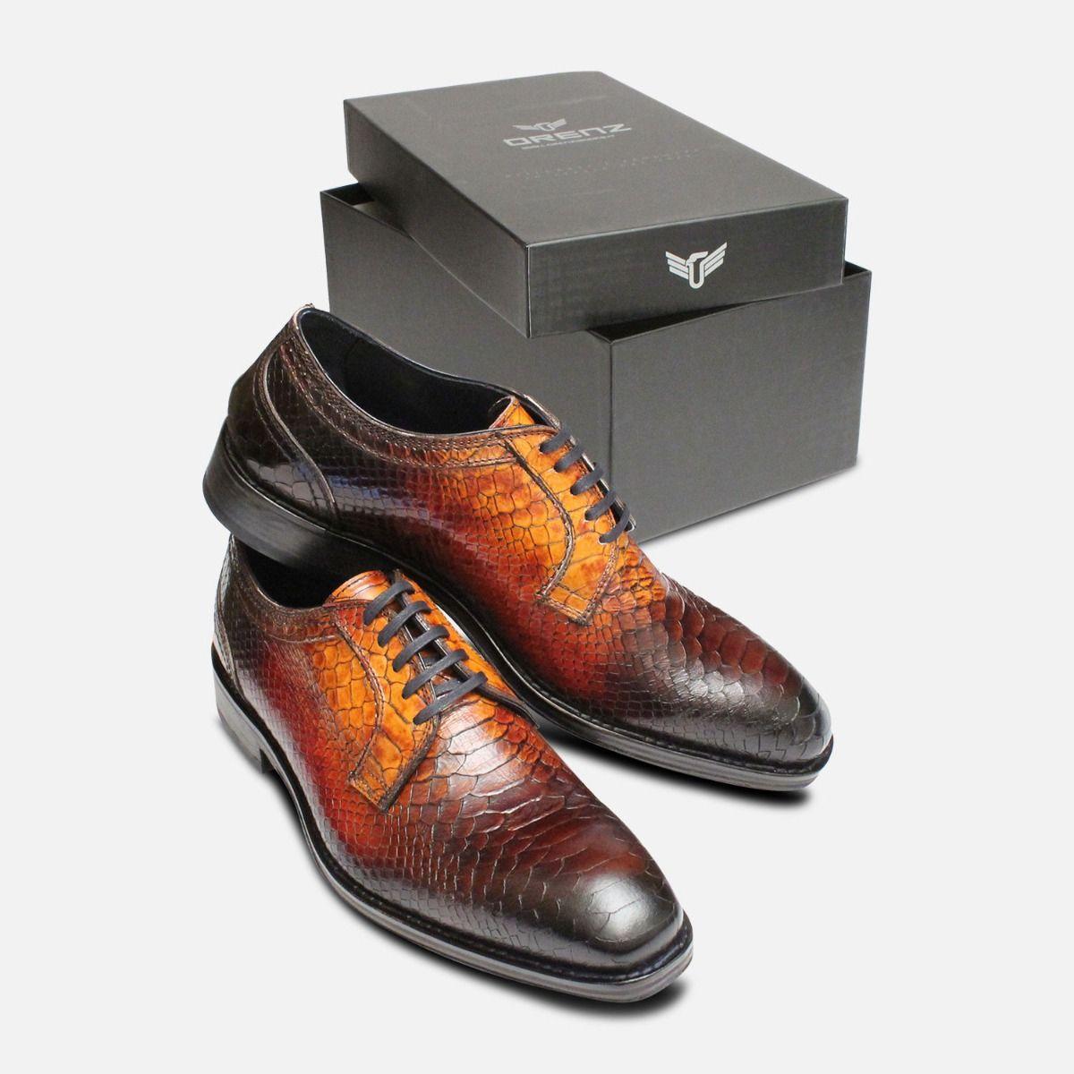 Luxury Brown Italian Snakeskin Shoes