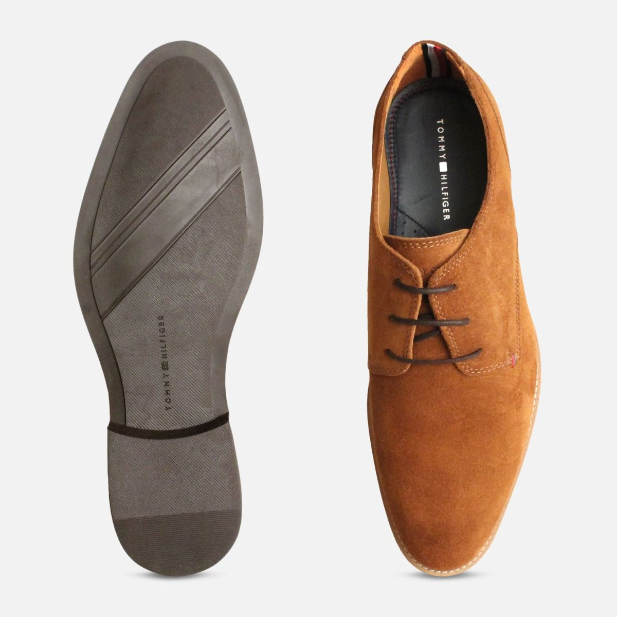 Tommy Hilfiger Cognac Suede Mens Daytona Shoes